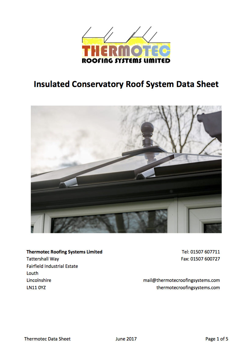 Insulated Conservatory Roof System Data P1