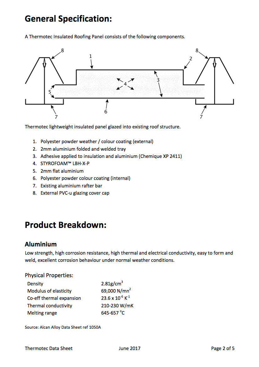 Insulated Conservatory Roof System Data p2
